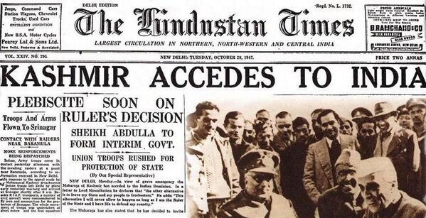 The Hindustan TImes Headline on October 28 1947, confirms the accession and also the plebiscite.