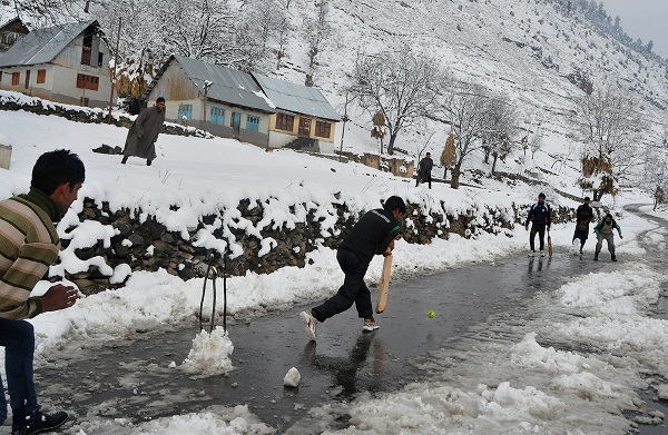 Kashmir Cricket Field Snow