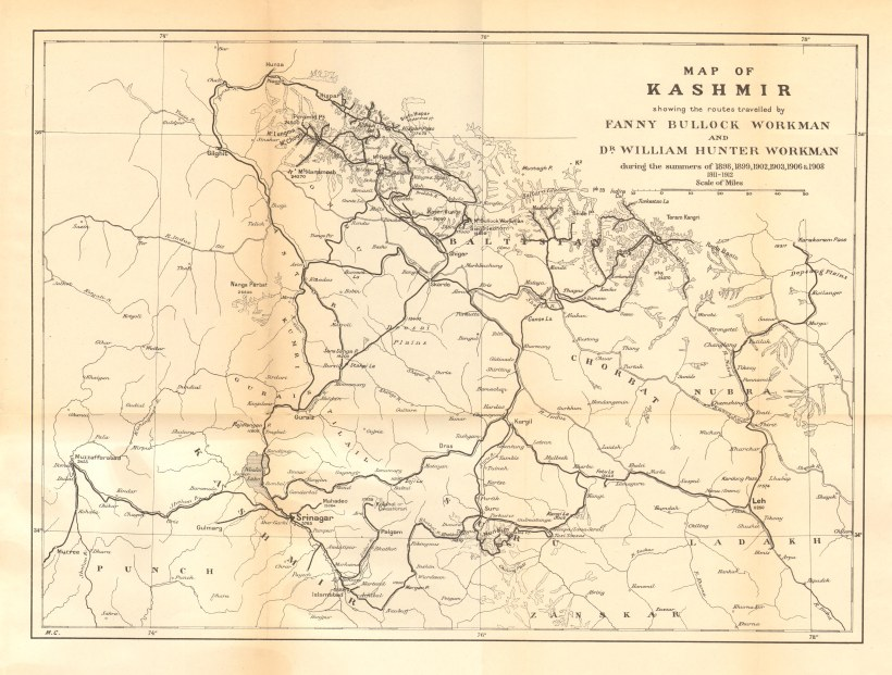 1912 Map of Kashmir showing routes by Workman